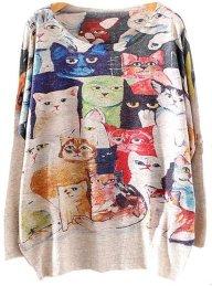 Jersey punto gatos manga larga - Sheinside