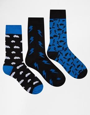 Pack de 3 pares de calcetines con diseño de tormenta de ASOS